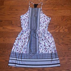 Floral High Neck Lace Appliqué Back Dress